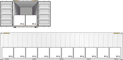 Pörner Bitumen Bag™ P1.3 Container Loading Schematic